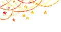 Christmas frame - garland with stars. Watercolor corner border