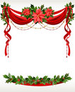 Christmas frame with pointsettia Royalty Free Stock Photography