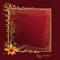 Christmas frame rectangle with golden ornaments on red background Royalty Free Stock Photos