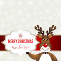 Christmas frame with rudolph the red nosed deer eps file contains transparency effects in gradients Royalty Free Stock Image