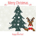 Christmas frame with rudolph the red nosed deer eps file contains transparency effects in gradients Stock Image