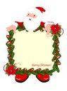 Christmas frame with santa fir and claus on white background Stock Photos