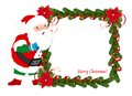 Christmas frame with santa fir and claus on white background Stock Photography