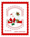 Christmas frame with santa rectangle fir and balls Stock Photo