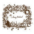 Christmas frame, sketch drawing for your design Stock Image