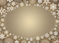 Christmas frame white snowflakes on a beige background Stock Photos