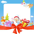 Christmas frame wit santa claus and gifts funny vector background illustration Stock Photos