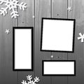 Christmas frames vector blank set on wooden wall snowflakes Stock Photography