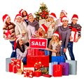 Christmas friends women , men with shopping bag and gift box. Royalty Free Stock Photo