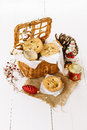 Christmas fruit mince pie in a woven basket Royalty Free Stock Photo