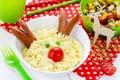 Christmas fun food art idea for kids breakfast or festive dinner Royalty Free Stock Photo
