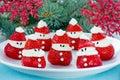 Christmas fun food idea - strawberry Santa Claus, healthy and de Royalty Free Stock Photo
