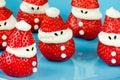 Christmas fun food idea - strawberry Santa Claus Royalty Free Stock Photo
