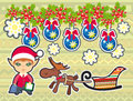 Christmas funny illustration with little elf and deer Stock Photography