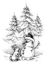 Christmas funny scene, winter season Royalty Free Stock Photo