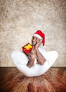 Christmas funny yoga Royalty Free Stock Image