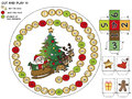 Christmas game for children cut and play Royalty Free Stock Images