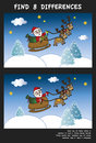 Christmas game for children find eight differences Stock Photo