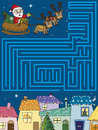 Christmas game illustration of maze for children Royalty Free Stock Images