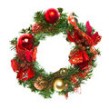 Christmas garland with baubles and ribbons Stock Photos