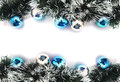 Christmas garland with blue and silver bubbles isolated on white background Stock Photo