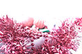 Christmas Garland and Decor with Overexposed Background Royalty Free Stock Photo