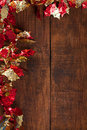 Christmas garland decoration on rustic dark wooden background copy space Stock Photography