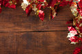 Christmas garland decoration on rustic dark wooden background copy space Royalty Free Stock Photography