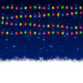 Christmas garland electric with stars on sky background illustration Stock Photos