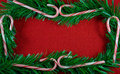 Christmas garland frame. Royalty Free Stock Photo
