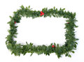 Christmas garland over white background Stock Images