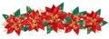 Christmas garland of poinsettia Royalty Free Stock Photo