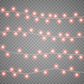 Christmas garlands isolation on transparent background. Xmas realistic overlay lights card. Holidays decorations bright