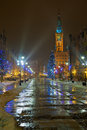 Christmas in gdansk the tree beside the town hall poland Royalty Free Stock Image