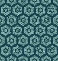 Christmas geometric hexagon grid seamless pattern. Hand drawn textured vector background. Festive xmas scrapbooking paper, yule