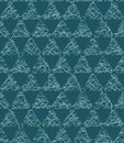 Christmas geometric triangle grid seamless pattern. Hand drawn textured vector background. Festive xmas scrapbooking paper, yule