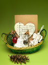 Christmas gift basket Royalty Free Stock Photo