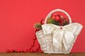 Christmas gift basket beautiful on red background Stock Photo