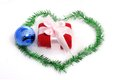 Christmas gift with blue ball Royalty Free Stock Photo