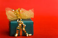 Christmas gift with bow and ribbon Stock Photography