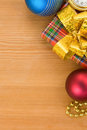 Christmas gift box with balls Royalty Free Stock Images