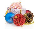 Christmas gift box with balls n white Royalty Free Stock Images