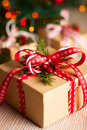 Christmas gift box with decoration Royalty Free Stock Images