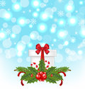 Christmas gift box with holiday decoration illustration Stock Photography