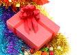 Christmas gift box  isolated on white background Royalty Free Stock Photo