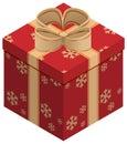 Christmas gift box. Isometric illustration