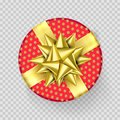 Christmas gift box present red golden ribbon bow wrapper pattern vector isolated