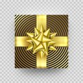 Christmas gift box red present in golden ribbon bow and wrapping paper foil pattern. Royalty Free Stock Photo
