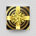 Christmas gift box red present in golden ribbon bow and wrapping paper wave pattern. Royalty Free Stock Photo