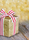Christmas gift box with a red ribbon Royalty Free Stock Image